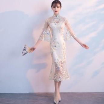 チャイナ新品 中国風ドレス 花刺繍 パーティードレス カクテルドレス 結婚式 発表会 上品優雅 着痩せ ワンピース