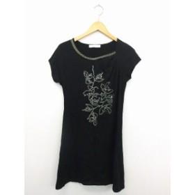 【中古】cosa-nuova ワンピース スカート 半袖 スパンコール 刺繍 コットン 綿 40 ブラック 黒 /UT6 レディース