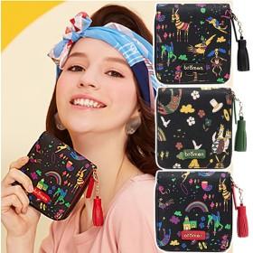 【お取り寄せ商品】二つ折り財布 ウォレット ラウンドファスナー ブレーメンの音楽隊 グリム童話 アニマル柄 レディース 全3色