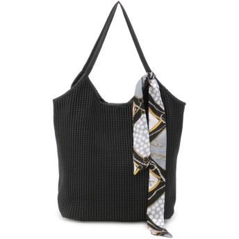 Crossi スカーフ付格子型押しトートバッグ トートバッグ,黒