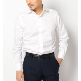 【シップス/SHIPS】 SD: ALBINI社製生地 ツイル ソリッド ワイドカラーシャツ(ホワイト)