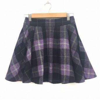 プロポーション ボディドレッシング PROPORTION BODY DRESSING スカート ミニ フレア チェック 2 紫 黒 パープル ブラック GGG レディース【中古】