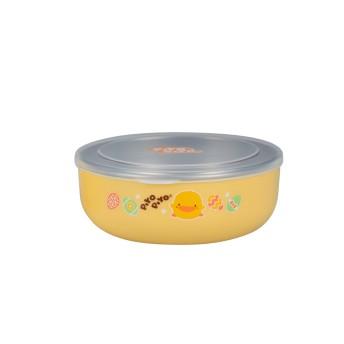 黃色小鴨 不鏽鋼雙層隔熱淺餐碗350ml