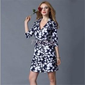 ワンピースレディースカシュクールラップドレス膝丈通勤オフィスOLきれいめ花柄フラワー20代30代40代50代N