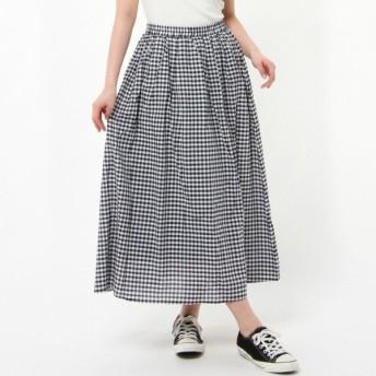 スカート レディース ロング 大人ナチュラル綿混ギャザースカート 「ネイビー」