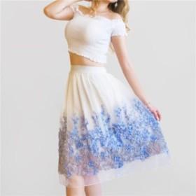 フレアスカート シフォン ロング丈 ひざ丈 花柄 Aライン フレア 大人上品 大人可愛い 春夏 トレンド チュールスカート