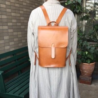 ヌメ革 ハーフフラップリュック キャメルブラウン 手縫い ☆送料無料