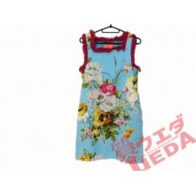 【名東】マヌーシュ ワンピース ノースリーブ 36 水色に花柄 アパレル 女 服