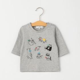 [マルイ]【セール】SHIPS KIDS:アニマル 刺繍 7分袖 TEE(80-90cm)/シップス キッズ(SHIPS KIDS)