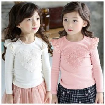 子供用カットソーシャツ長袖レースフリルリボンハートかわいいキュートおしゃれキッズ女児女の子ガール子ども幼児レディース