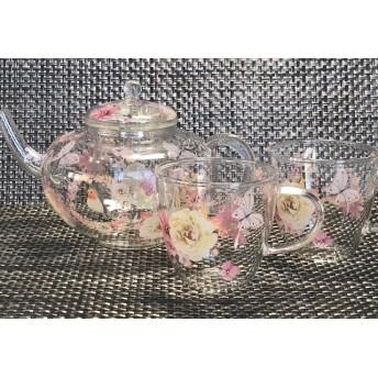 薔薇と小鳥のティーセット 耐熱ガラス