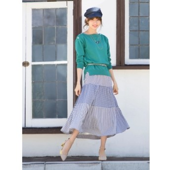 Fabulous Angela 合皮ベルト付きティアードロングスカート