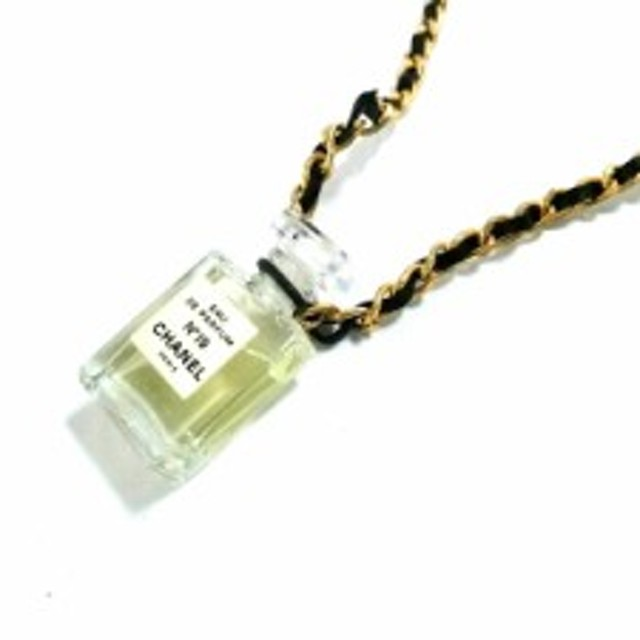 5be3317bd611 シャネル CHANEL ネックレス レディース ガラス×金属素材×レザー クリア×ゴールド×黒 香水