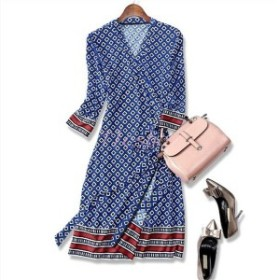 カシュクールワンピースラップドレス通勤袖あり服装ファッション20代30代40代膝丈お呼ばれNK