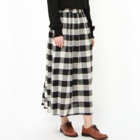 スカート レディース ロング 大人ナチュラル綿混ギャザースカート 「ブラック」