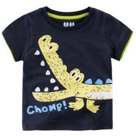 半袖TシャツプリントTシャツカットソートップス夏子供服男の子男児キッズKIDS動物アニマルカバワニロゴカラフル可愛い