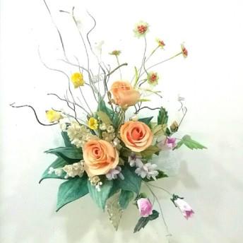 染め布花*すずらんと薔薇の花束&壁掛け ♪