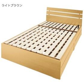 3段リクライニング すのこベッド (フレームのみ) 〔セミダブル ライトブラウン〕 収納付き 手動ギア式 スチールパイプ 〔寝室〕