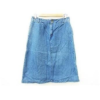 スタディオクリップ Studio Clip スカート ひざ丈 台形 デニム地 ゴム フロントジップ ジップアップ 綿 コットン 無地 青 ブルー M