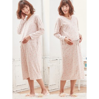 【ANGELIEBE/エンジェリーベ】【授乳しやすい】花柄2WAYパジャマ ピンク S~M