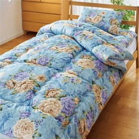 〔TEIJIN〕 清潔 布団セット/寝具 〔セミダブル ブルー〕 洗える 日本製 掛け布団 敷布団 枕付き 抗菌 防臭 保温性 〔寝室〕