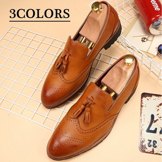 d129a7a2374c 美品 ローファー メンズ シューズ ビジネスシューズ スリッポン ウイングチップ 革靴 イギリス風 タッセル レザー ローカット. トップ  ファッション 靴 メンズシューズ