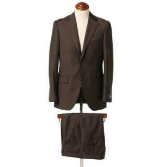 BEAMS F ALFRED BROWN ウールモヘヤ ブラウンソリッド 3ボタンスーツ