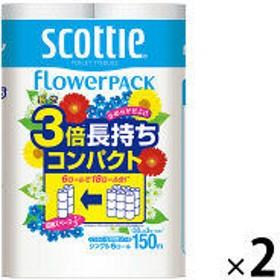 トイレットペーパー 6ロール入 再生紙配合 シングル 150m くつろぐ花の香り スコッティフラワーパック 3倍長持ち6ロール 1セット(6ロール入×2パック