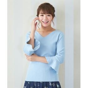 綿100%袖フレアー7分袖ニットプルオーバー (大きいサイズレディース、ニット・セーター)