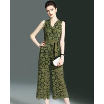 パンツドレス オールインワン ノースリーブ 30代 40代 グリーン 大きいサイズ 結婚式 パーティー 花柄 Vネック 春夏 パンツスタイル