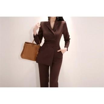 レディーススーツ パンツスーツ オールインワン サロペット ビジネス 入学式 スーツ コンビネゾン S M L LL ペンシルパンツ
