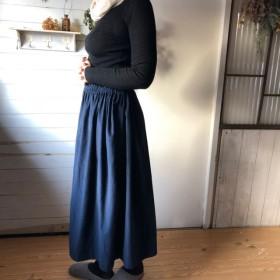 【お直し無料】コーデュロイ ギャザースカート ネイビー