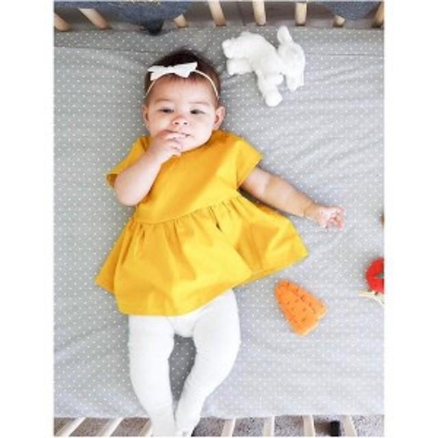 チュニックワンピース子供服キッズ服ベビー服女の子チュニックワンピース半袖フレアリボン子供子どもキッズベビー赤ちゃん可愛い