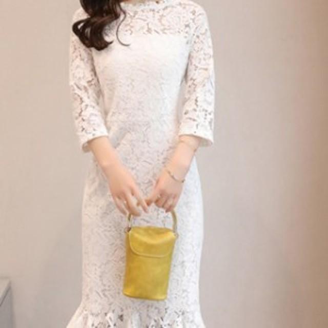 【0408】レディース ファッション レース ワンピース ドレス お呼ばれ お食事 七分袖 ホワイト ブルー ブラック