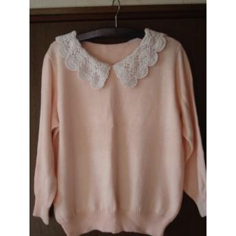 春の桜色の綿ニットプルオーバー