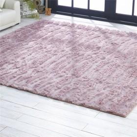 防炎 ラグマット/絨毯 〔約130cm×190cm 長方形 グレイッシュパープル〕 ライン柄 日本製 折りたたみ ホットカーペット 床暖房可【配達日時指定不可】