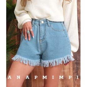 【セール開催中】ANAP(アナップ)裾フリンジデニムショートパンツ