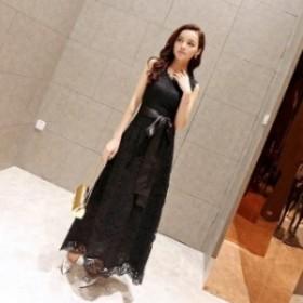 【0412】レディース レース ワンピース フェミニン ドレス 結婚式 お呼ばれ パーティー ブラック ホワイト ロング丈