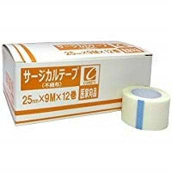 サージカルテープ 不織布 25mm×9m×12巻 1箱(医家向品 医療用) コメス