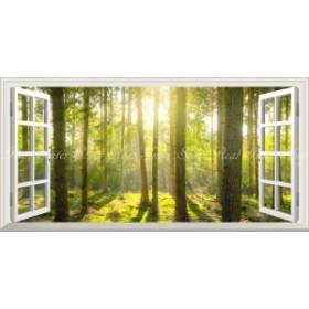 絵画風 壁紙ポスター  森林 森林浴 緑 木漏れ日 目の保養 気分転換 癒し パノラマ 【窓仕様】 SNR-113MS1 (1152mm×576mm)