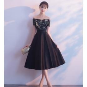チャイナ ドレス ワンピース 花柄 刺繍 オフショルダー ハイウエスト リボン フレア ミモレ丈 大きいサイズ 20代 30代 プチプラ