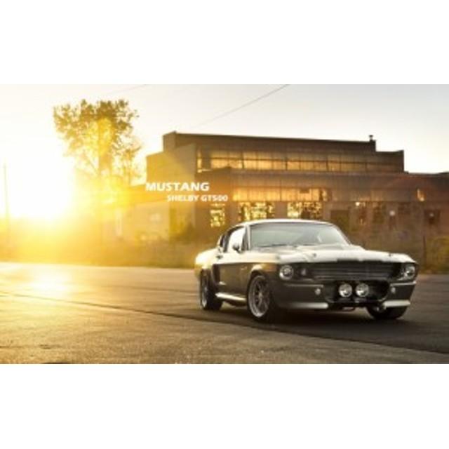 絵画風 壁紙ポスター  フォード シェルビー・マスタング GT500 夕陽 FMTG-016W2 (ワイド版 603mm×376mm)