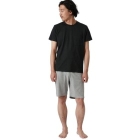 パジャマ ルームウェア 部屋着 上下セット メンズ 夏用 汗取り ひんやり 綿混 吸汗 速乾 薄手 さらさら 快適 敏感肌 黒色 M L LL