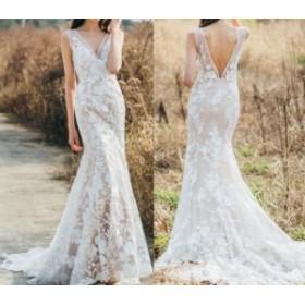 ウェディングドレス マーメイド フラワーレース Vネック ヌードレース 背中開き 刺繍レース 花柄 レース 結婚式