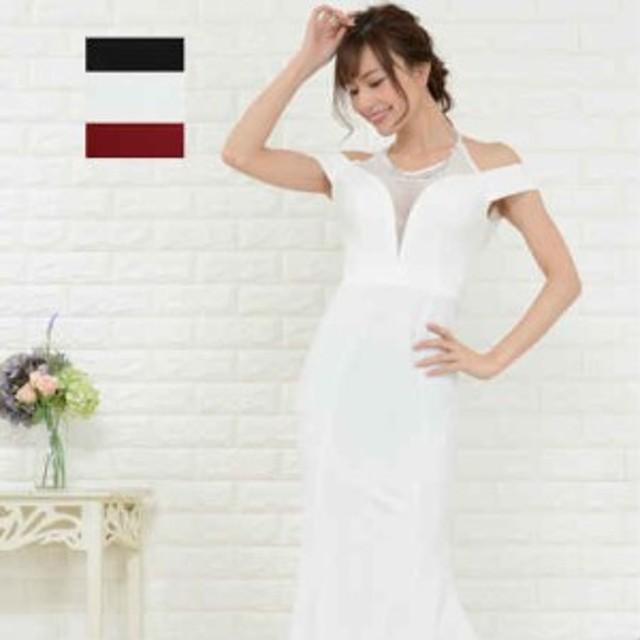 4891a8124ad33 キャバドレス ロング キャバ ドレス キャバクラドレス オフショルダー Jewel ジュエル 部分メッシュ ロングドレス