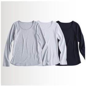 UVカット綿100%フライス素材クルーネック長袖Tシャツ3枚組 (Tシャツ・カットソー)(レディース)