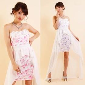 キャバ ドレス ロング セール 安い キャバクラ 衣装 コスプレ あすつく 送料無料 バタフライ柄テールカットインナーミニロングドレス