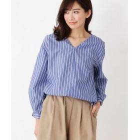 index / インデックス 【洗える】ブロードストライプ  Vネックシャツ