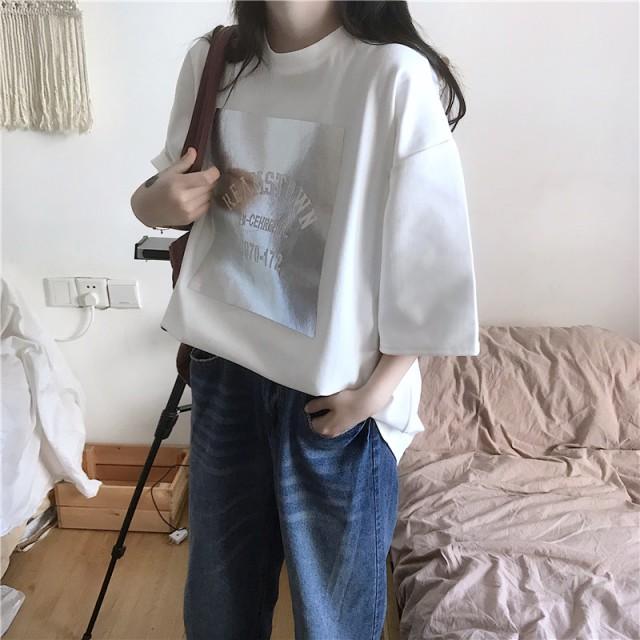 Tシャツ - G & L Style レディース 半袖 トップス カットソー シンプル カジュアル ロゴプリント 半袖Tシャツ 5720
