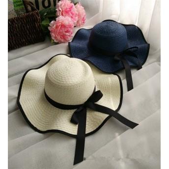 春夏新作レディース帽子 折りたたみ uv つば広 麦わら リボンストローハット♪全3色